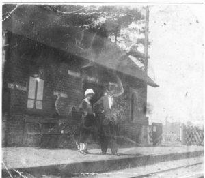 Wenhaston Station. Stationmaster Mr Harry Girling and daughter Vera.